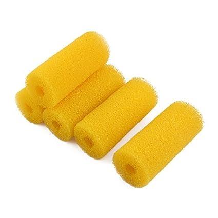 eDealMax esponja Con Forma de cilindro de ratón Filtrar bioquímicas 5 piezas amarillas Para peces de