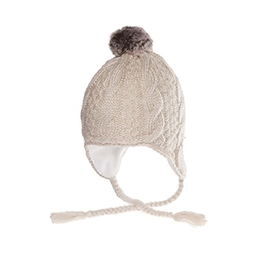 Chaos Taboo Mohair Cable Earflap Beanie With Faux Pom, Natural