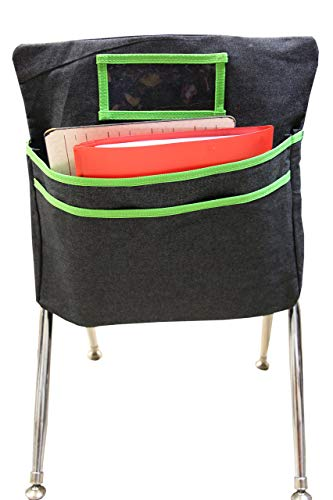 Tiny Octopus Student Chair Pockets for Classrooms - Books and Supplies Chairback Organizer - Foldable and Portable Class Seat Companion (Green)]()