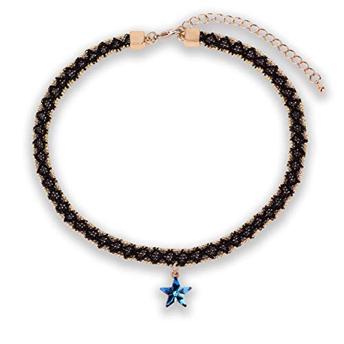 Audrey Ryan Choker Necklaces for Women Sexy Black Lace Choker Necklace for Women Mothers for Her Gifts Teenage Girls Blue Star Pentagram Black Choker Necklace