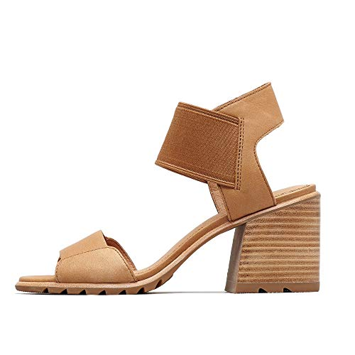 (Sorel - Women's Nadia Sandals Open Toe Sandals with Ankle Strap and Heel, Full-Grain Leather, Camel Brown, 9 M US)