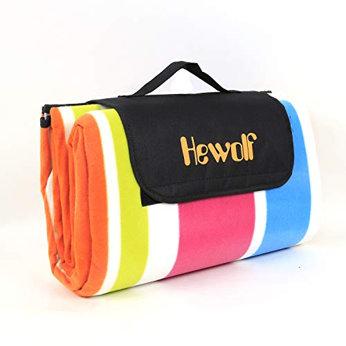 Hewolf Extra Large Waterproof Picnic Blanket Soft Warm Fleece Lawn Blanket Tote Dual Layers Camping Tote Mat Portable Family Size Handy Mat