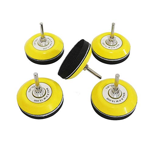 3 Inch (75mm) Hook and Loop Sanding Pad for Sanding Discs with 1/4 inches Shank Drill Attachment and Soft Foam Layer Buffering Pad, 5 Packs