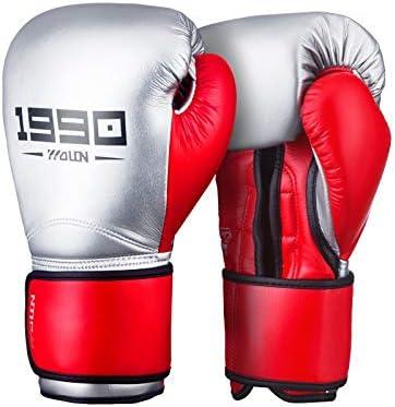 手袋 日常 実用 メンズアダルトコンペボクシンググローブプロの三田トレーニングファイティンググローブ (Color : Silver+red, Size : 10oz)