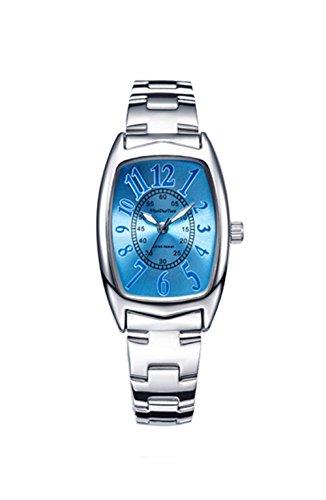 Leisure Retro Tonneau-Shaped Stainless Steel Strap Quartz Wrist Watch For Women, Blue-Silver (Watch Stainless Steel Tonneau)