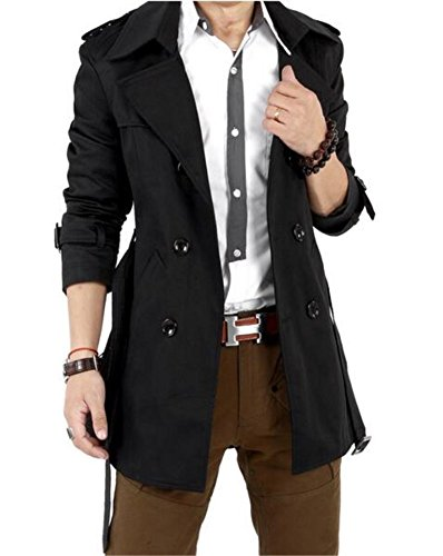 Men's Slim Double Breasted Trench Coat Long Lightweight Jacket Overcoat (Designer Trench Coat)