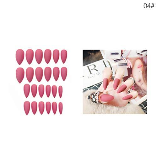 False Nails Matte 24Pcs Long Tips For 10 Pure Color Chip Gel For Nails s Nail Fake Nails BTZ1 04 ()