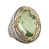 Himpokejg Women's Fashion Vintage Faux Gemstone Finger Ring Engagement Wedding Band Jewelry Gifts - Green US 10