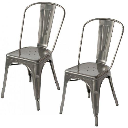 Lemoderno Galvanized Steel Side Chair (2, Gun (Powder Coating Galvanized Steel)