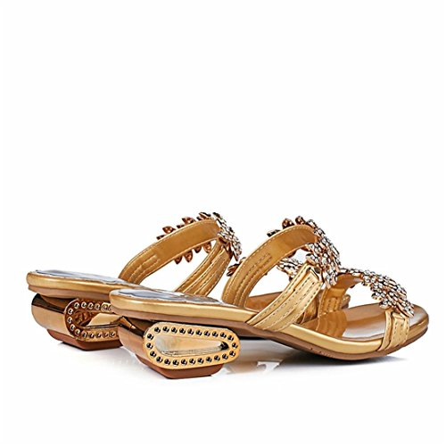 Kword con Infradito Toe Open Sexy Party Pantofole E Scarpe Donna Sandali Alti Sandali oro Tacchi Crystal Strass Pantofole Awgt0qa