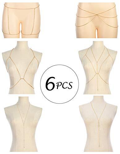 Tornito 6-8Pcs Sexy Belly Waist Chain Bikini Body Chain Summer Beach Body Jewelry Set for Women Girls Gold Tone (A2:6Pcs, Gold Tone)