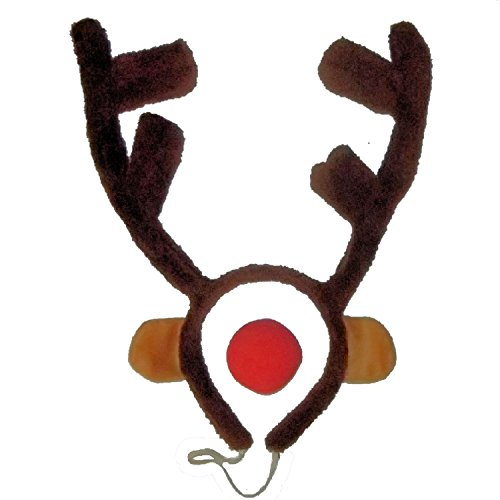 Rudolph The Red Nosed Reindeer Costumes (Red-Nosed Reindeer Antlers, Nose, Ears Costume Accessory Set by RTD TRADING)