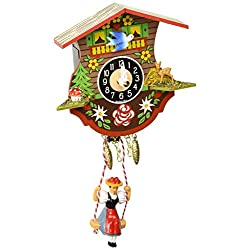 Alexander Taron 0110SQ Engstler Battery-Operated Clock-Mini Size with Music/Chimes H x 4.5 W x 2.25 D, White