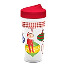 Zak Designs Toddlerific Perfect Flo Toddler Cup with Elf on a Shelf, Double Wall Insulated Construction and Adjustable Flow Technology, Break-resistant and BPA-free Plastic, 8.7oz