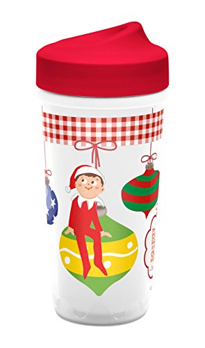 (Zak Designs Toddlerific Perfect Flo Toddler Cup with Elf on a Shelf, Double Wall Insulated Construction and Adjustable Flow Technology, Break-resistant and BPA-free Plastic,)