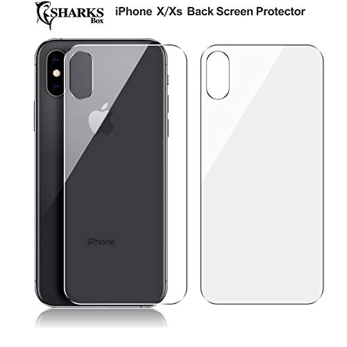 (2 Pack) SHARKSBox iPhone Xs/X Back Screen Protector for Apple iPhone Xs/iPhone X[Case Friendly][Anti-Bubble] Back Glass Screen Protector Film Compatible iPhone Xs/X 5.8 ()