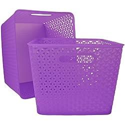 Basket Weave Plastic Storage Bin Set of 2 (13.75 x 11 x 9, Translucent Purple)