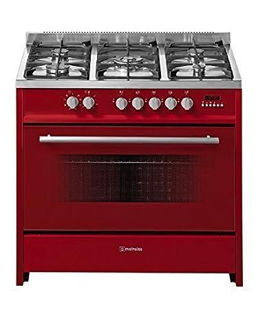 Meireles Cocina de gas con 5 quemadores y eléctrico de horno rojo ...