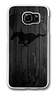 Samsung Galaxy S6 Case, Hard Crystal Clear Transparent Plastic Bumper Case for Samsung Galaxy S6 with Back Photo Wood Black MUStang