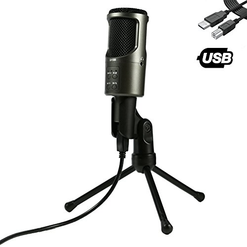 USB Microphone, TKGOU Computer Microphone With Monitor Function & Tripod Stand, Great for Recording and singing, Skype, YouTube, Google Voice Search, Games(Windows/Mac)-Nut-Pro (Usb Instrumental Microphone)