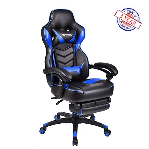 ELECWISH Ergonomic Computer Gaming Chair, PU Leather High Back Office Racing Chairs With Widen Thicken Seat And Retractable Footrest And Lumbar Support, Large, Blue ()