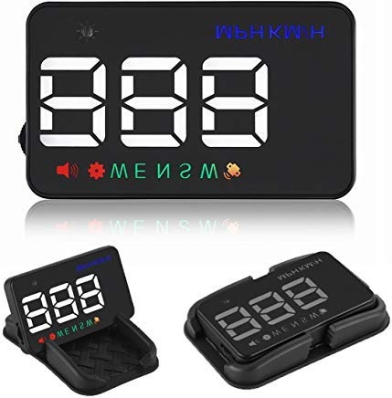 - Heads up Display Cars Universal GPS Speedometer 3.5 inch HUD Digital Car Compass with Cigarette Lighter Port, Speed, Compass, Over Speed Alarm, KMH/MPH, Windshield Projector with Film for 12V All Cars