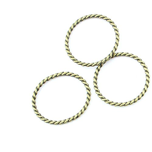 (40 pieces Anti-Brass Fashion Jewelry Making Charms 2108 Twisted Circle Wholesale Supplies Pendant Craft DIY Vintage Alloys Necklace Bulk Supply Findings Loose)