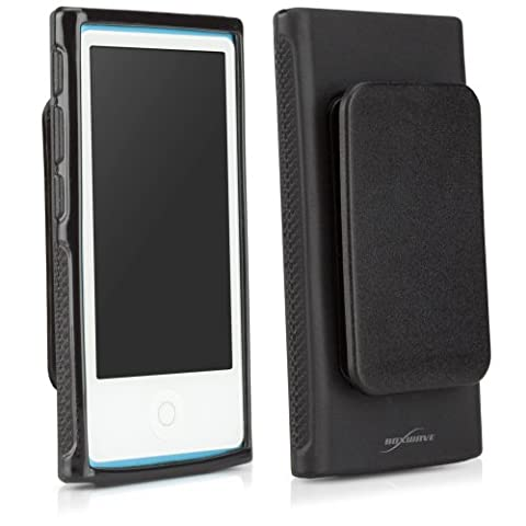 New iPod Nano 7 Case, BoxWave [Blackout Case with Clip] Shiny Black Cover w/ Belt Holster Clip for Apple New iPod Nano (Ipod Nano Cases With Clip)