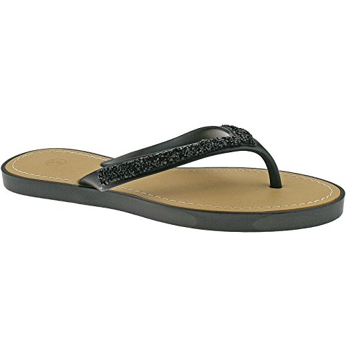 Ladies Casual Summer Sandals Flip Flops Size UK 3-8 Black Green Nude LP3835-Black-UK 6 (EU 39)