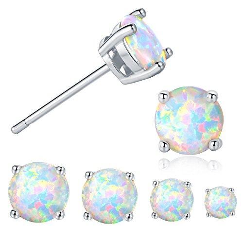 GEMSME 18K White Gold Plated 3/4/5/6mm Round Opal Stud Earrings Pack of 4