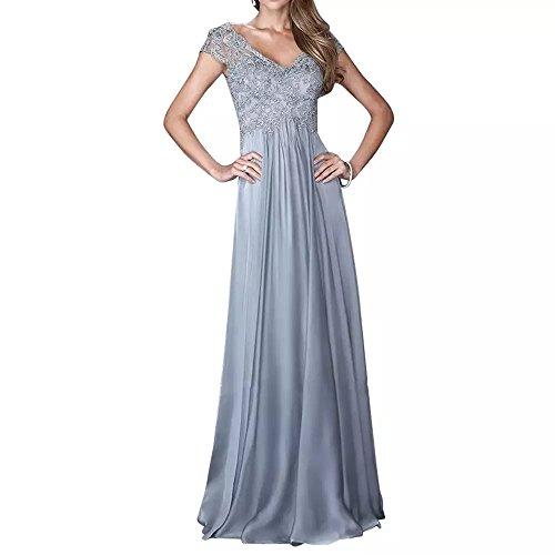 Abendkleider Silber Abschlussballkleider A Linie Damen V Ballkleider Kurzarm Ausschnitt Charmant Neuheit Spitze Lang n6fqO7X