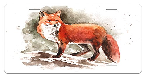 Ambesonne Fox License Plate, Watercolor Hand Drawn Red Fox with Bushy Tail Brushstrokes Tod Mammal, High Gloss Aluminum Novelty Plate, 5.88