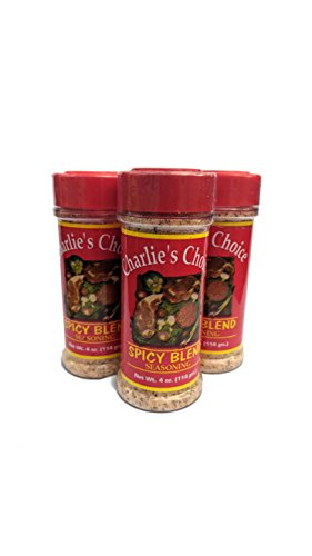 Gif Fish - Charlie's Choice Spicy Blend Seasoning 3 Pk Best for All Meats (Including grill Sirloin, Ribeye, etc) Beef Pork Chicken Fish 12 OZ