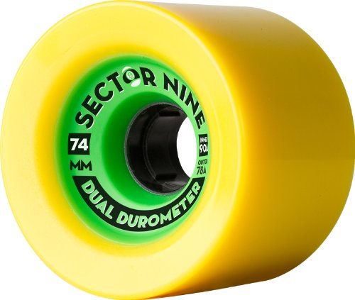 Sector 9 Dual Durometer Skateboard Wheel, Yellow with Green, 74mm 78A Outer/90A Inner