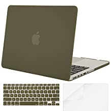 Mosiso Plastic Hard Case with Keyboard Cover with Screen Protector for Macbook Pro 13 Inch with Retina Display No CD-ROM (A1502/A1425), Capulet Olive