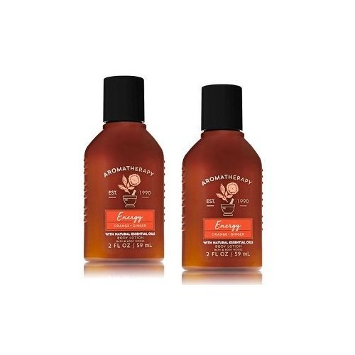 Bath and Body Works 2 Pack Aromatherapy Energy Orange & Ginger Travel Size Body Lotion 2 Oz (Bath Lotion Body Energy And)