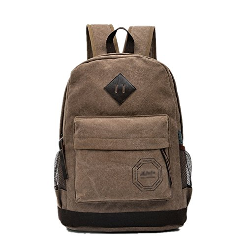 New Fashion Great Canvas Unisex Retro Vintage Backpack Rucksack for University Outdoor Camping Picnic Sports Laptop Multi-function Bag AL5042 (coffee)