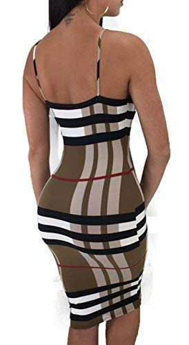 Mini Club Color de Coffee Grande Estampado Night Krere Tirantes Cuadros Espagueti de de out Rayas con de Vestido a tamaño Bodycon Mujer qUwOaxA