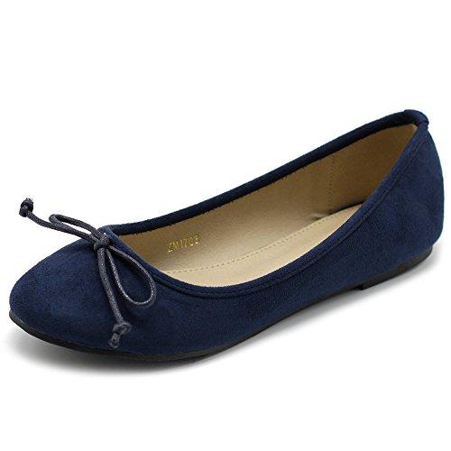Ollio Women's Shoe Faux Suede Ribbon Ballet Flat ZM1703 (8.5 B(M) US, Navy) (Ribbon Suede Faux)