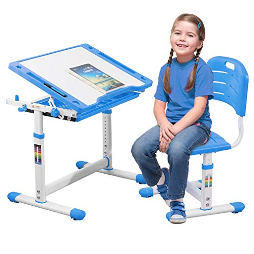 FDW Children Desk and Chair Set Kids Study School Adjustable Height Table with Storage Blue]()