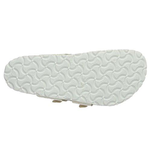 Birkenstock Womens Mayari Birko-Flor Sandals Shiny Snake Cream