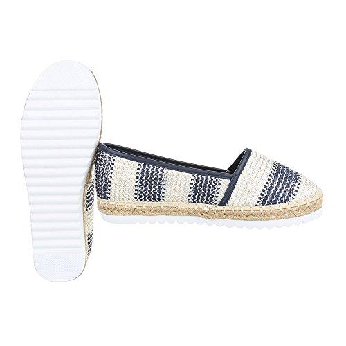 Ital-Design Slipper Damenschuhe Low-Top Moderne Halbschuhe Blau Beige 6501-BL