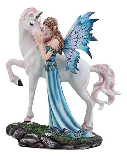 (Ebros The Parting Of Lifelong Friends Blue Gowned Air Elemental Fairy With White Rare Unicorn Statue Mythical Fantasy Decor Of Medieval Renaissance Legends Of Unicorns Magical Elixir Of Youth Figurine)