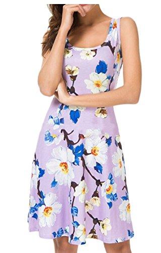 Jaycargogo Été Sans Manches Imprimé Floral Robe Lâche Swing Bohème Femmes 2