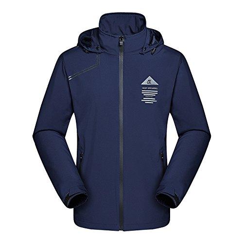 MAGCOMSEN Climbing Jacket Men Lightweight Athletic Jacket Water Resistant Hoodies Running Jacket Hooded Windbreakers Dark Blue