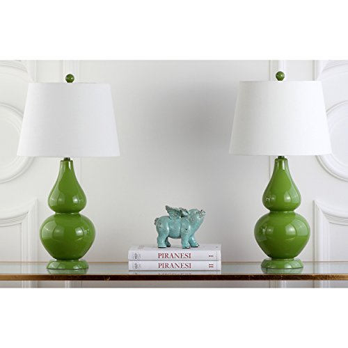 (Safavieh Lighting Collection Cybil Double Gourd Table Lamp, Fern Green, Set of 2)