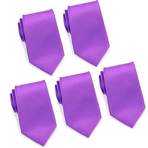(Mens Formal Tie Wholesale Lot of 5 Mens Solid Color Wedding Ties 3.5