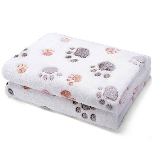 Allisandro Super Soft and Fluffy Dog Cat Puppy Blanket,Total 4 Sizes and 2 Colors Available for Small Medium Large Pet, Beige[100% Flannel Fleece] Large Paw Print Fleece