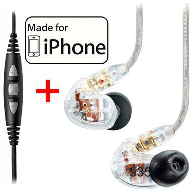Shure SE535-CL Earphones, CBL-M-+K Music Phone Cable with Remote and Mic for iPhone, iPod and iPad