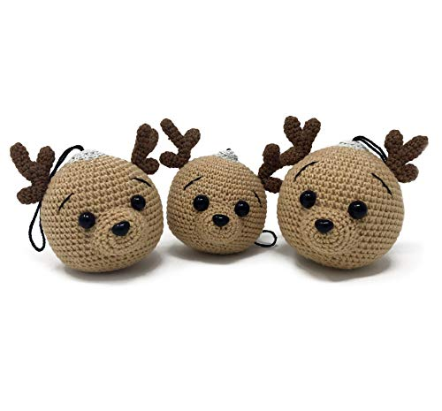 (Pixelitem Handmade Christmas Decoration - Christmas Tree Ornaments - Christmas Plush Crochet Figures, Deer (Brown, 3))
